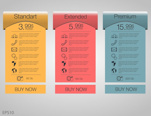 Trois Bannières Tarifaires. Tableau De Tarification Web. Pour L'application Web. Fixez Les Tarifs. Plan Pour Le Site Web En Appartement. Vecteur Premium