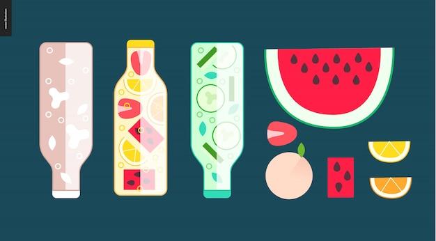 Trois bouteilles et des fruits Vecteur Premium