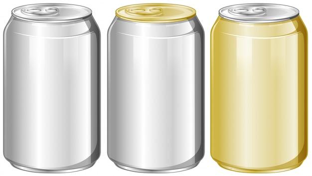 Trois Canettes En Aluminium Sans étiquette Vecteur gratuit