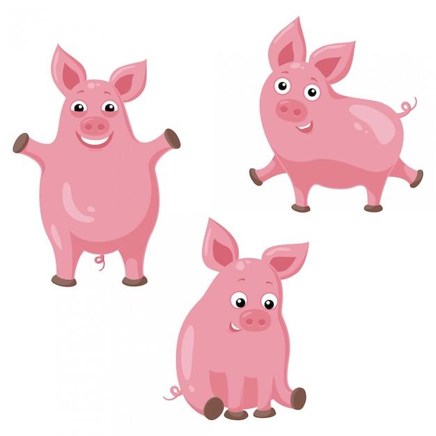 Trois Cochons De Drôle De Bande Dessinée. Illustration De Mignon Cochon Joyeux   Vecteur Premium