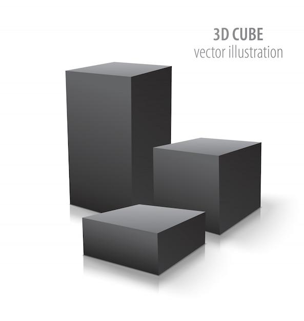 Trois cubes 3d isolés sur blanc Vecteur Premium
