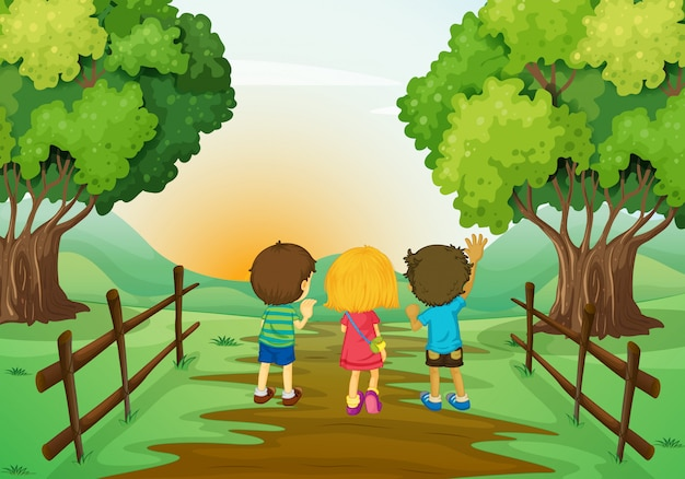 Trois enfants au coucher du soleil Vecteur gratuit