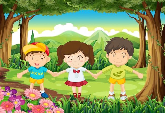 Trois enfants à la forêt Vecteur gratuit