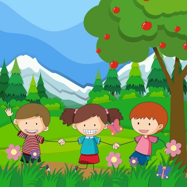 Trois enfants qui jouent dans le parc Vecteur gratuit