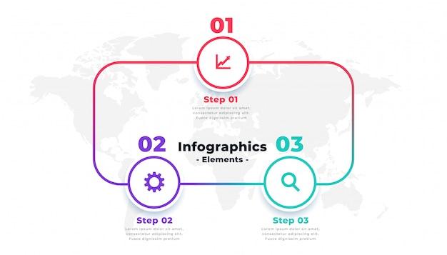 Trois étapes en ligne conception de modèle de mise en page infographie Vecteur gratuit