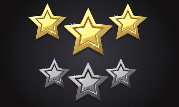 Trois étoiles d'or Vecteur Premium