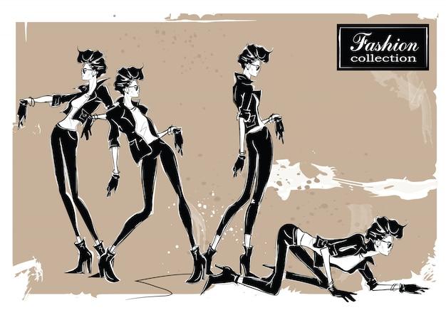 Trois femmes de la mode dans le style de croquis. Vecteur Premium
