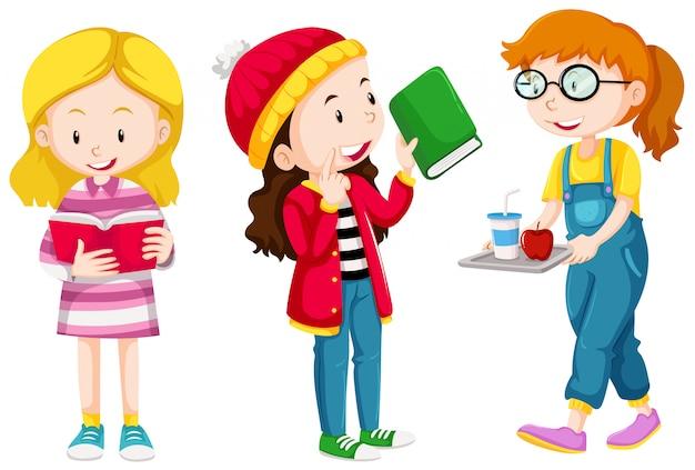 Trois filles font des choses différentes Vecteur gratuit