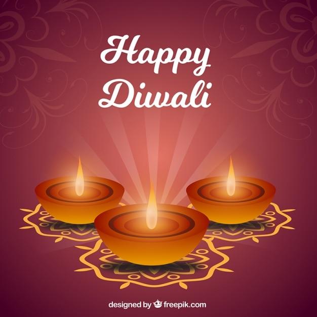 Trois fond ornemental de bougies de diwali Vecteur gratuit