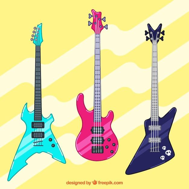 Trois Guitares Avec De Superbes Couleurs Et Dessins Vecteur Premium