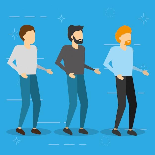 Trois hommes debout, illustration plat Vecteur gratuit