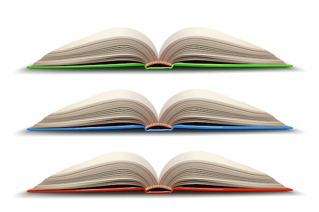 Trois Livre Ouvert Vecteur Premium
