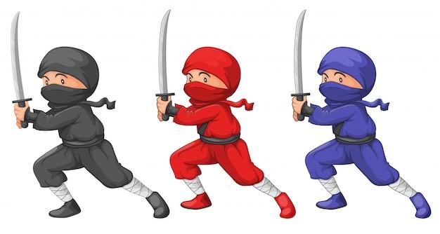 Trois ninjas Vecteur gratuit