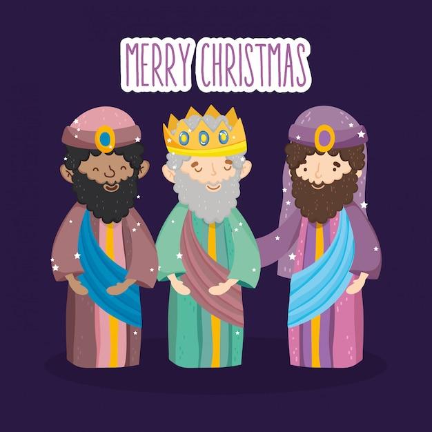 Trois Personnages Rois Sages Mangent La Nativité, Joyeux Noël Vecteur Premium