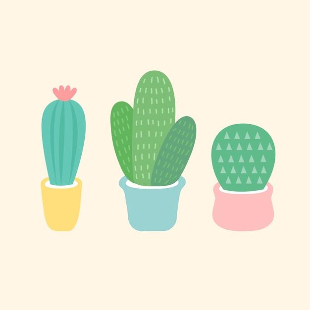 Trois petits vecteurs de cactus Vecteur gratuit