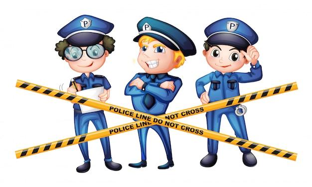 Trois policiers sur les lieux du crime Vecteur gratuit