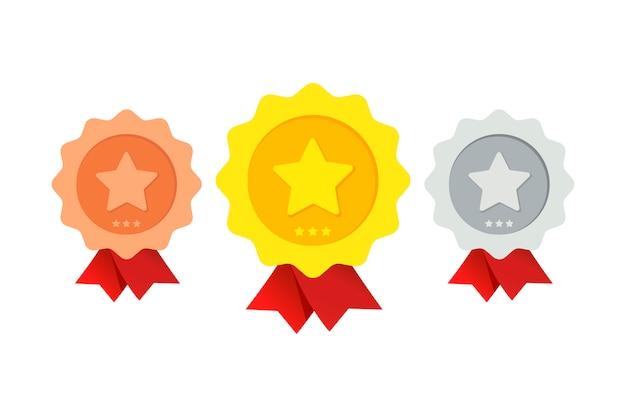 Trois récompenses de degrés divers Vecteur Premium