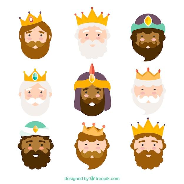 Trois rois de l'orient, caractères Vecteur gratuit