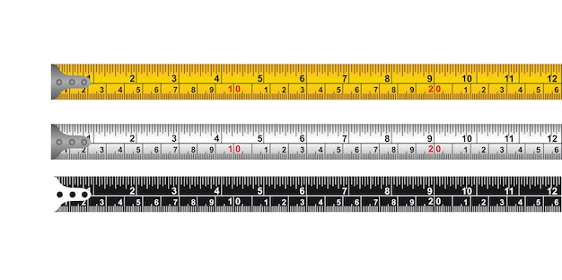 Trois ruban à mesurer isolé sur fond blanc vecteur Vecteur Premium