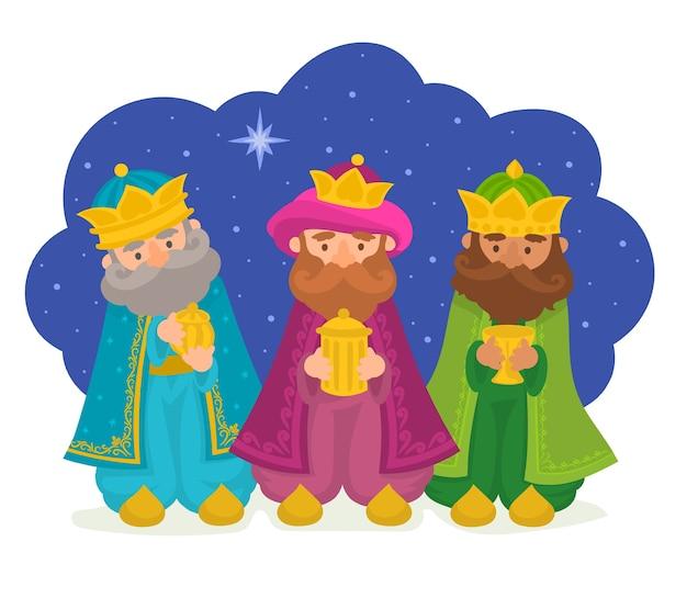 Trois Sages Apportent Une Illustration De Cadeaux Vecteur Premium