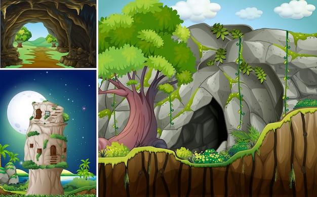 Trois scènes avec la grotte et la montagne Vecteur gratuit