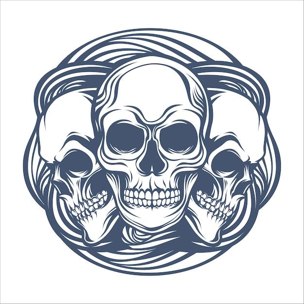 Trois vecteurs de crâne humain Vecteur Premium