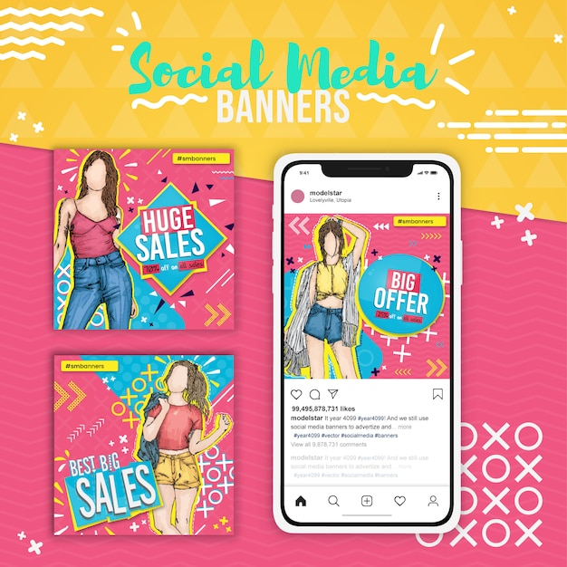 Trois ventes de mode, bannières de médias sociaux pop art Vecteur Premium