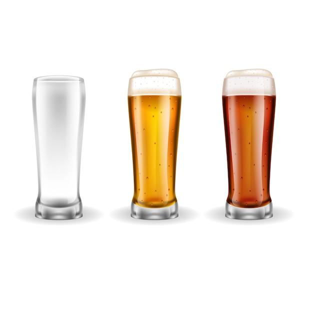 Trois verres de bière blonde Vecteur gratuit