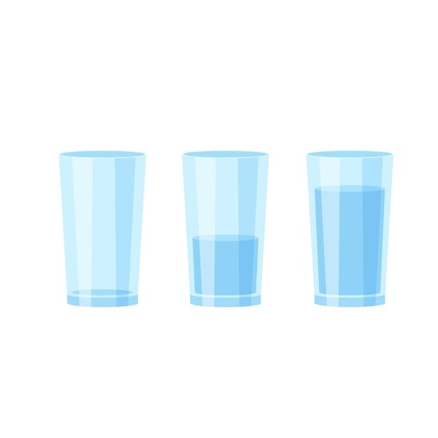 Trois Verres D'eau Vecteur Premium