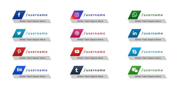 Troisième Bannière Inférieure D'icônes De Médias Sociaux Populaires Vecteur gratuit