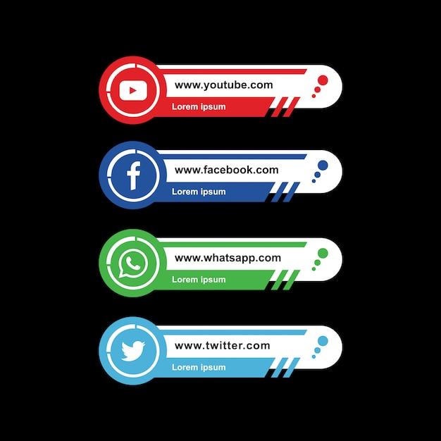 Troisième collection de médias sociaux modernes de vecteur Vecteur Premium