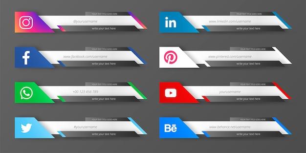 Troisième collection de médias sociaux modernes Vecteur gratuit
