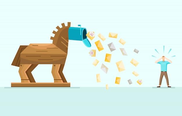 Trojan spam mail allégorie illustration plate Vecteur gratuit