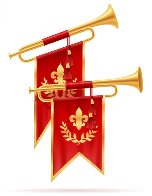 Trompette Royale En Corne D'or. Vecteur Premium