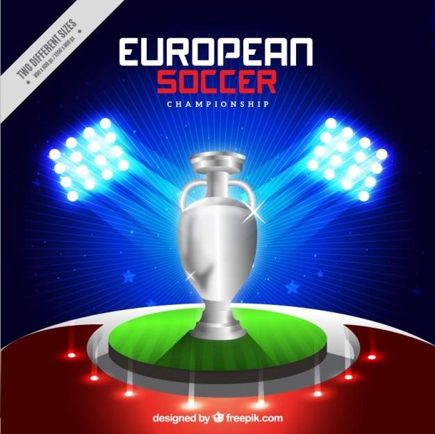 Trophée argent européen fond de football Vecteur gratuit