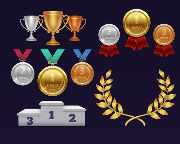 Trophée de la coupe d'or et couronne de lauriers d'or, médailles et podium sportif Vecteur Premium