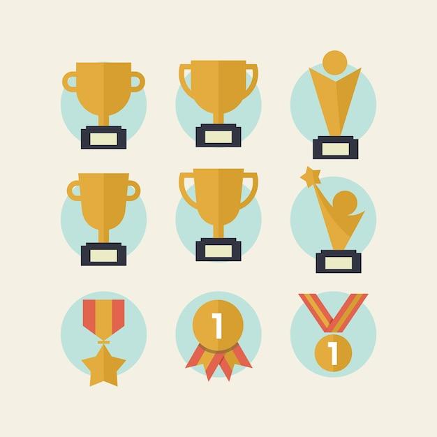 Trophée et médailles icône du design Vecteur gratuit