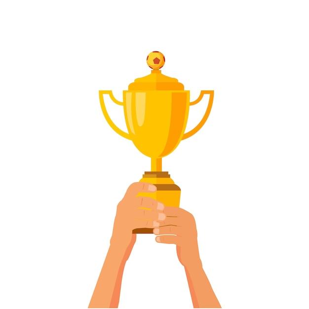 Trophée de football de football Vecteur Premium
