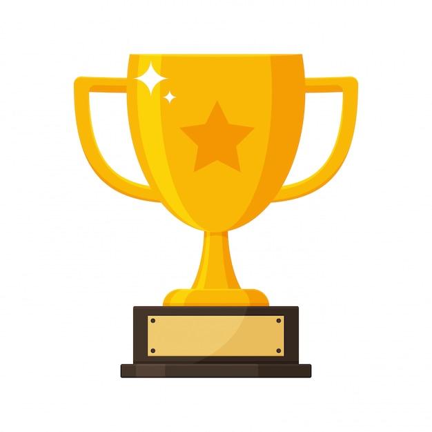 Trophée d'or avec la plaque signalétique du gagnant du concours. Vecteur Premium
