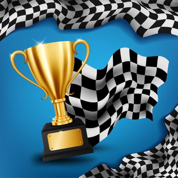 Trophée d'or réaliste avec fond de championnat de course drapeau à damier Vecteur Premium