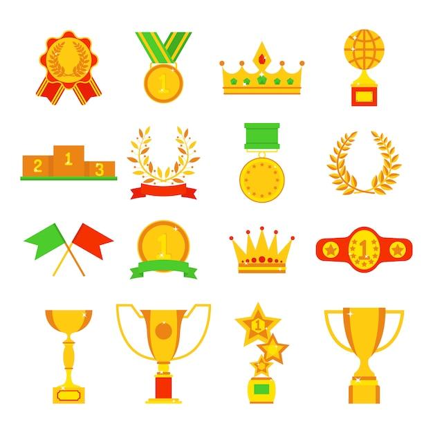 Trophée et récompenses icônes définies illustration plate. Vecteur Premium