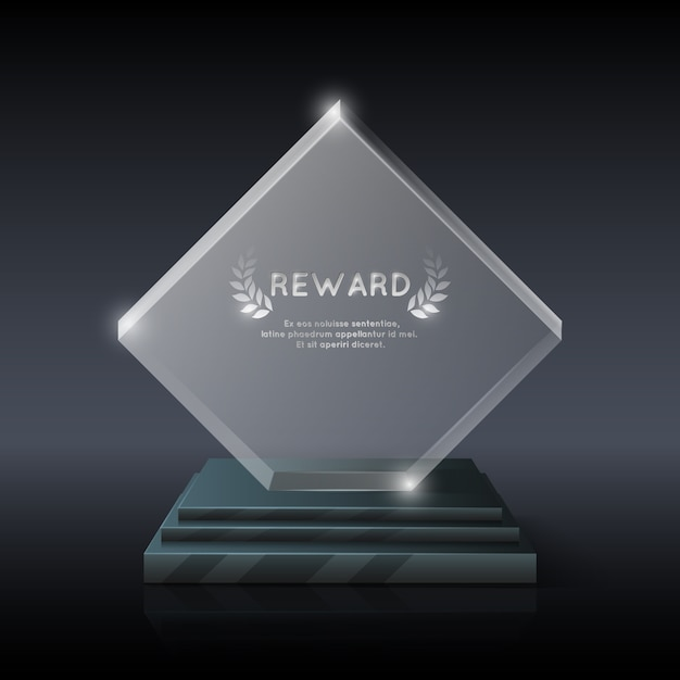 Trophée trophée en verre de cristal réaliste de vecteur Vecteur Premium