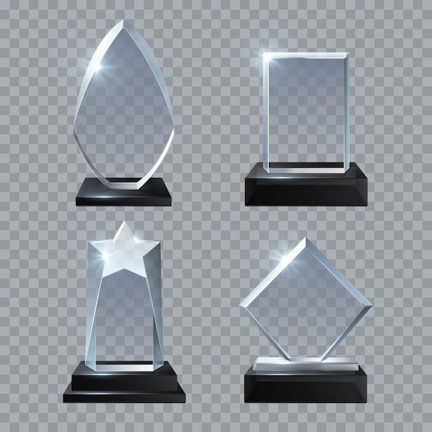 Trophée En Verre Cristal Récompense La Collection De Modèles De Vecteur Isolé. Trophée En Verre, Illustration De La Réalisation Du Panneau De Base Vecteur Premium