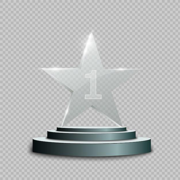Trophée De Verre. Illustration Vecteur Premium