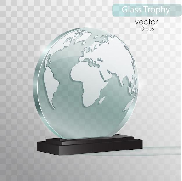 Trophée De Verre. Vecteur Premium