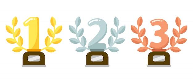 Trophées De Prix. Trophée De La Première Place D'or, Couronne De Laurier D'argent Et Trophées De Bronze Illustration Plate Vecteur Premium
