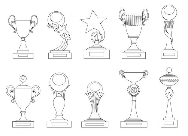 Trophées sportifs et des silhouettes de récompenses pour la conception Vecteur Premium