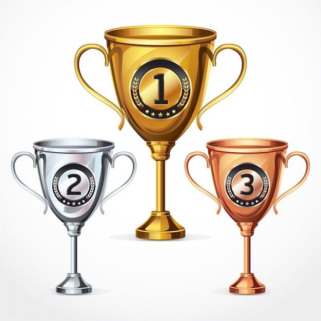 Trophées tasses. illustration vectorielle Vecteur Premium
