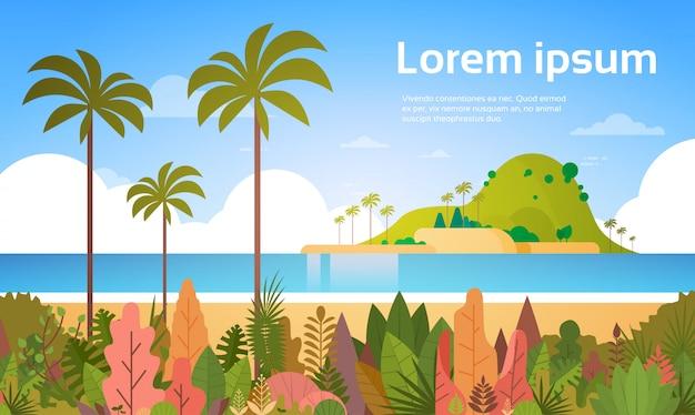 Tropical beach island palm ocean concept de vacances d'été Vecteur Premium