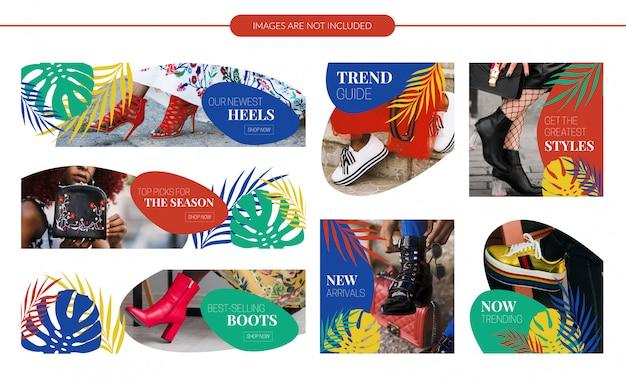 Tropical design sale banners set Vecteur Premium